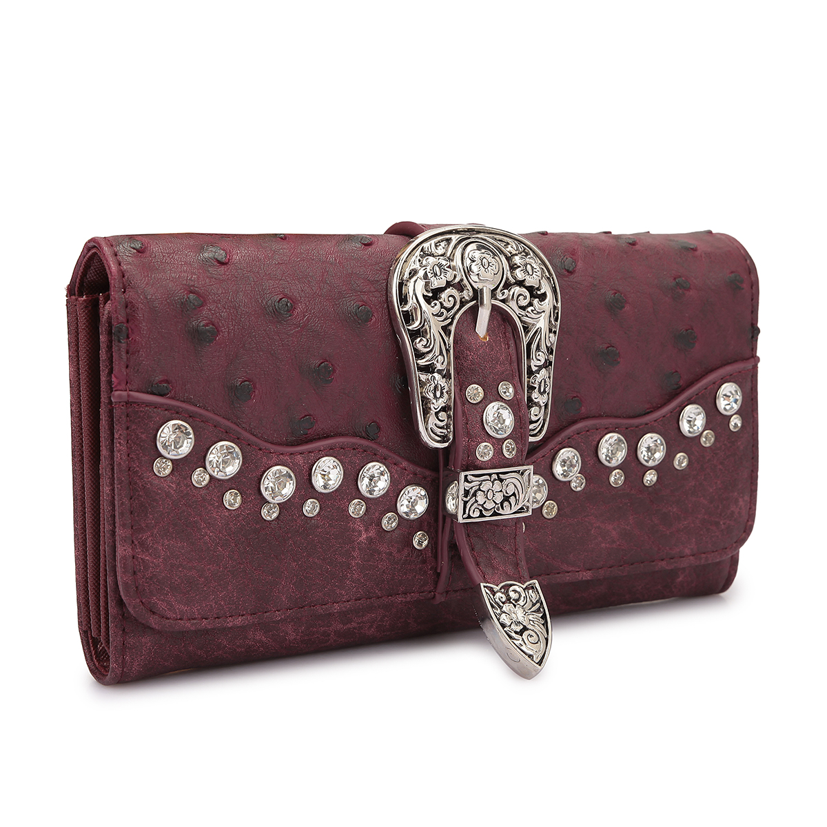 Faux Ostrich Leather with Buckle and Rhinestones- Tri-fold Wallet