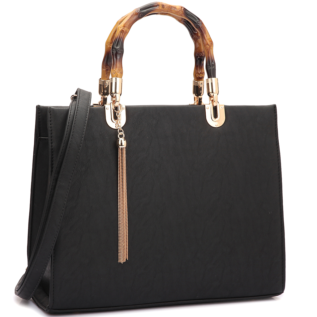Bamboo Handle Smooth Leather Medium Satchel