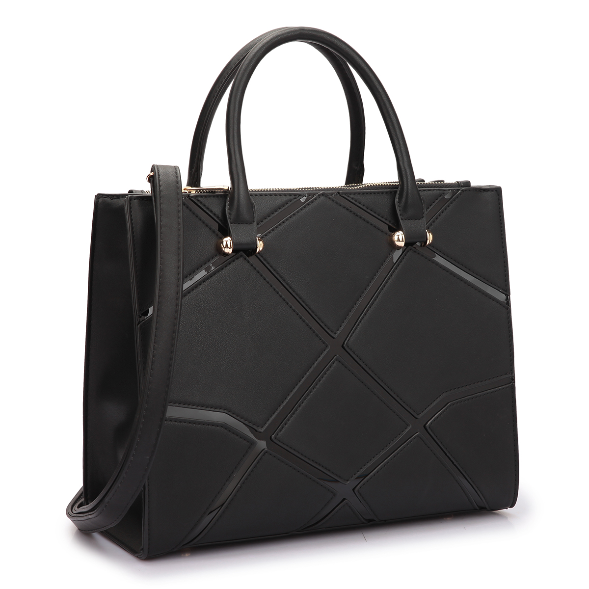 Dasein Medium Classic Satchel with Front Crosshatch patch Design