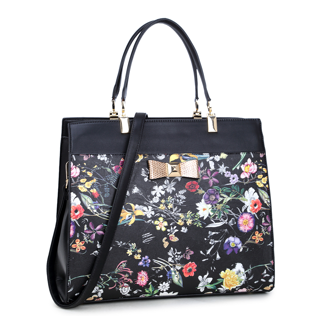 Dasein® Faux Leather Satchel with Flowery Design and Gold Accent Bow
