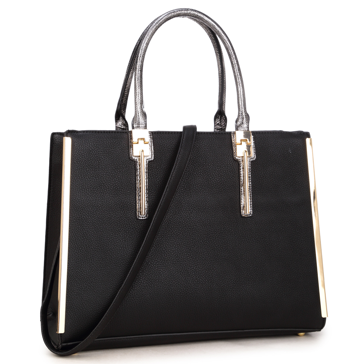 Dasein® Faux Leather Satchel with Gold plated Trim on both sides and Snake Skin Rolled Handle