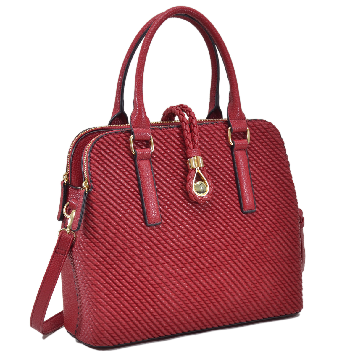 Dasein Faux Leather Medium Weaved Design Satchel