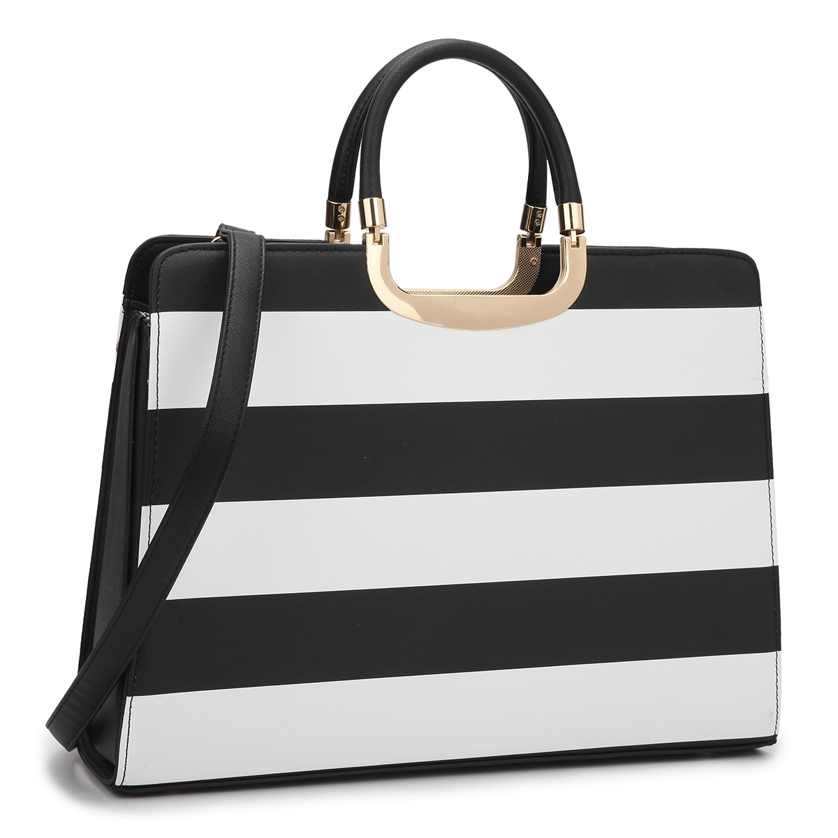 Patent Striped Croco Briefcase