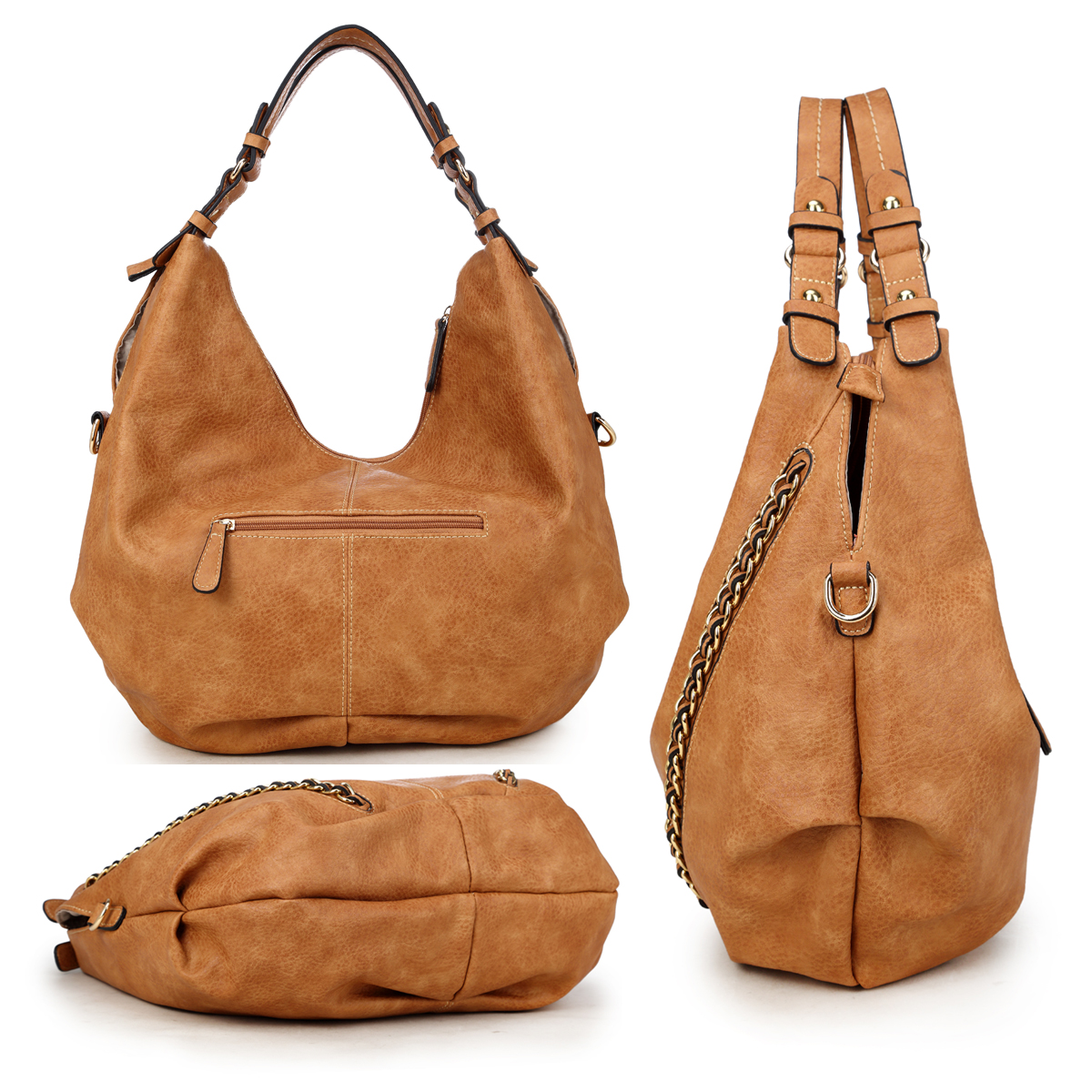 Dasein Soft Water wash Faux Leather Vintage Dual Handle Hobo Bag/Shoulder Bag