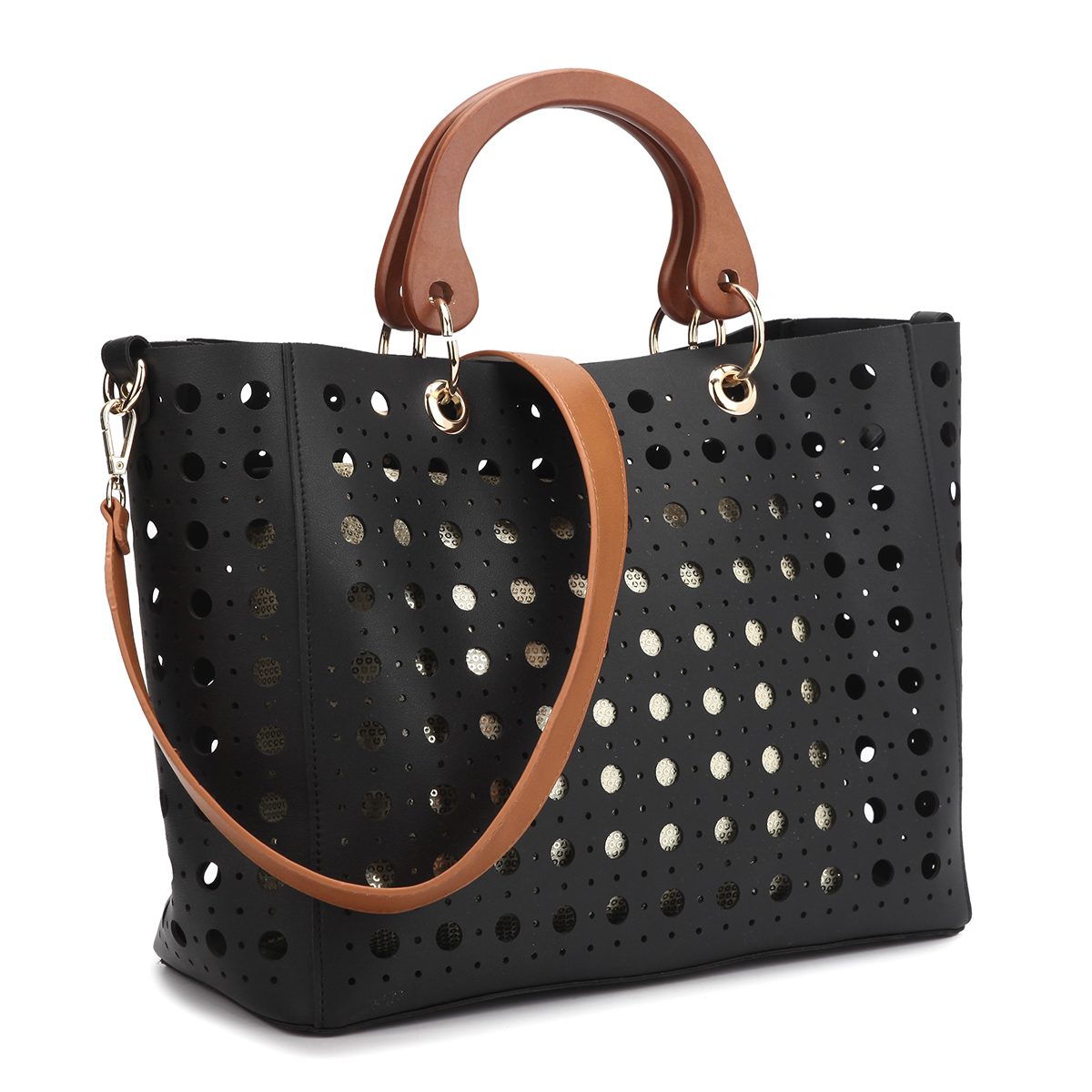 Dasein Faux Leather Wooden Handle Tote with Sequins