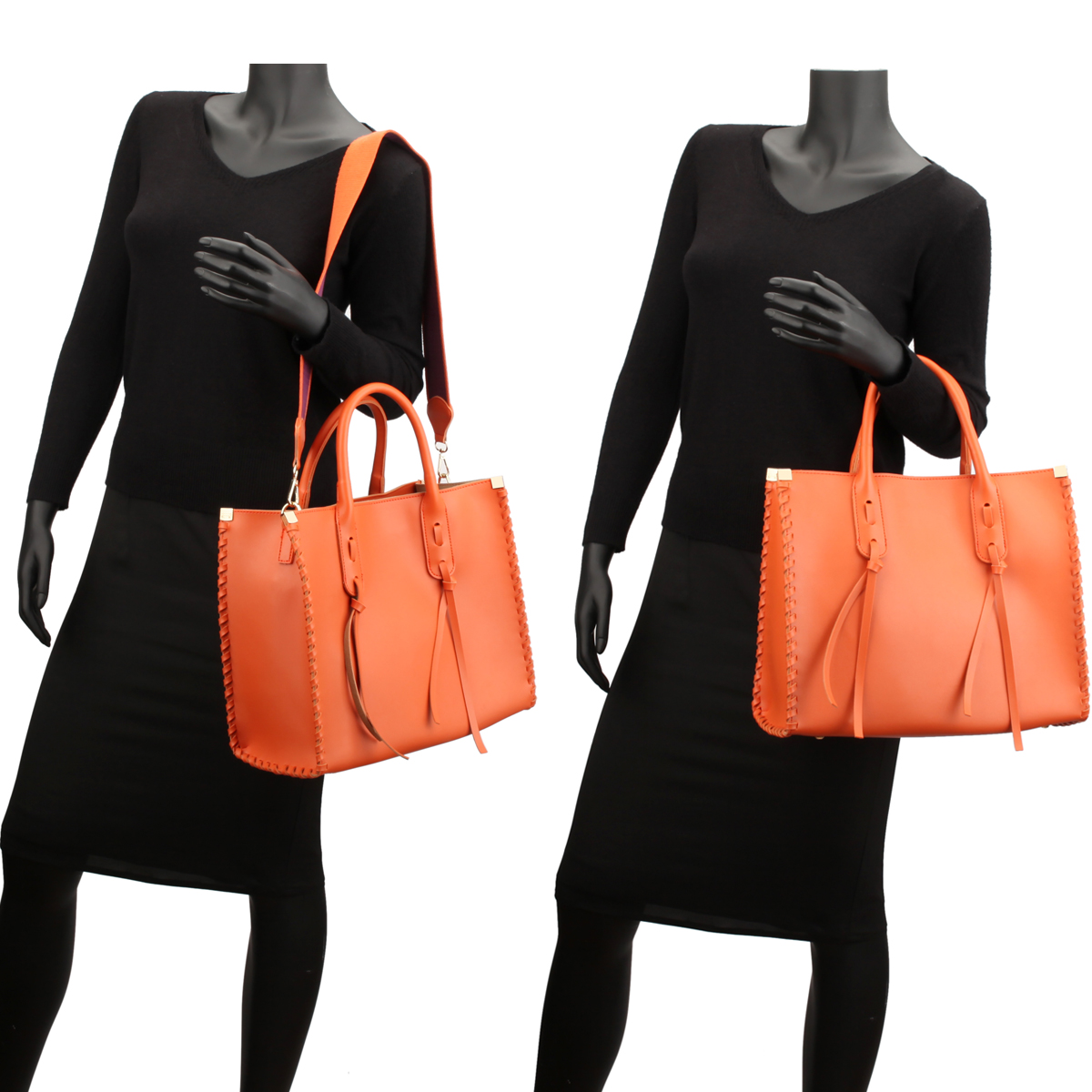 Medium Satchel with Decorative Side Stitch, Hanging Tassels and Matching Inner Pouch