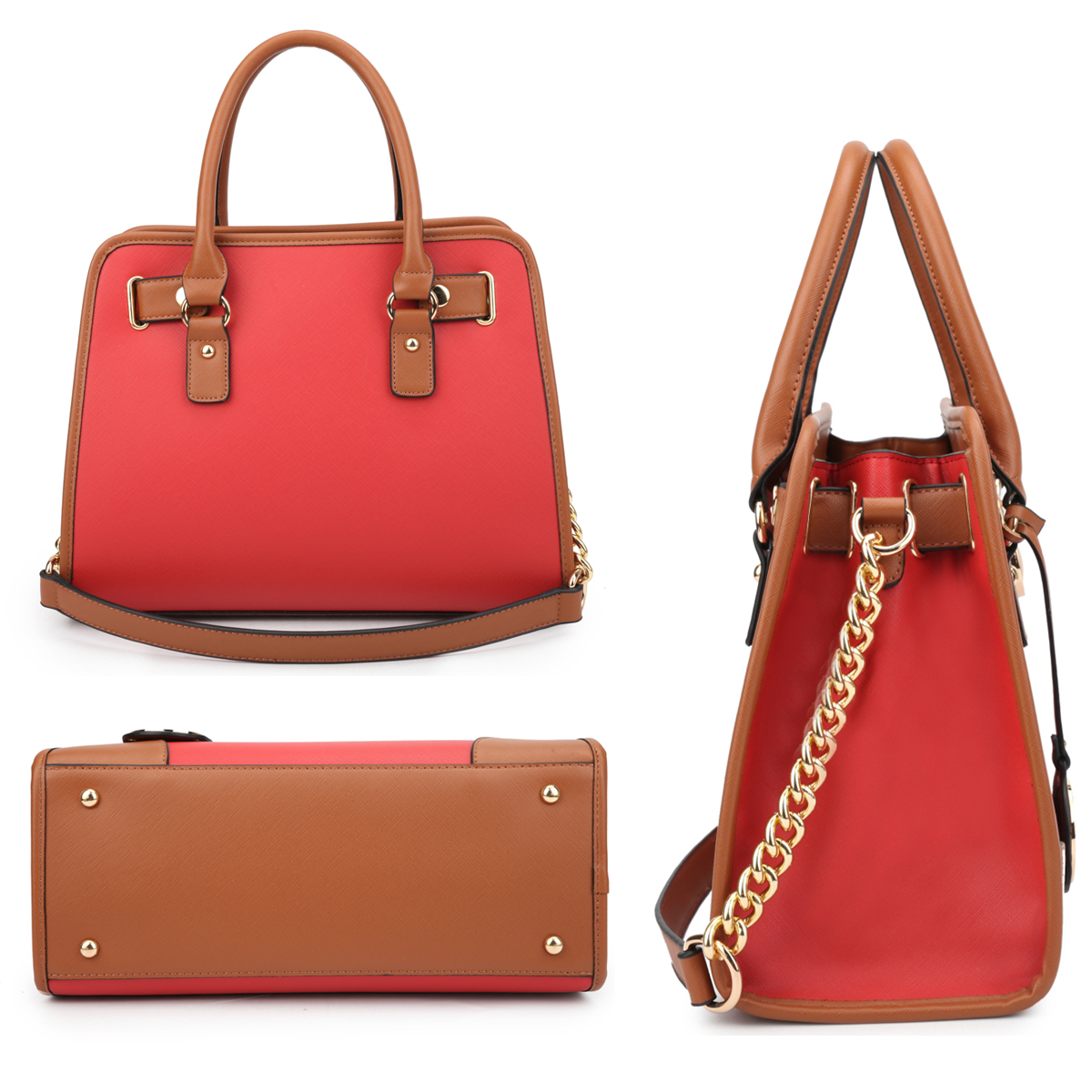 Dasein Medium Leather Satchel with Chain Shoulder Strap and with Matching Wallet
