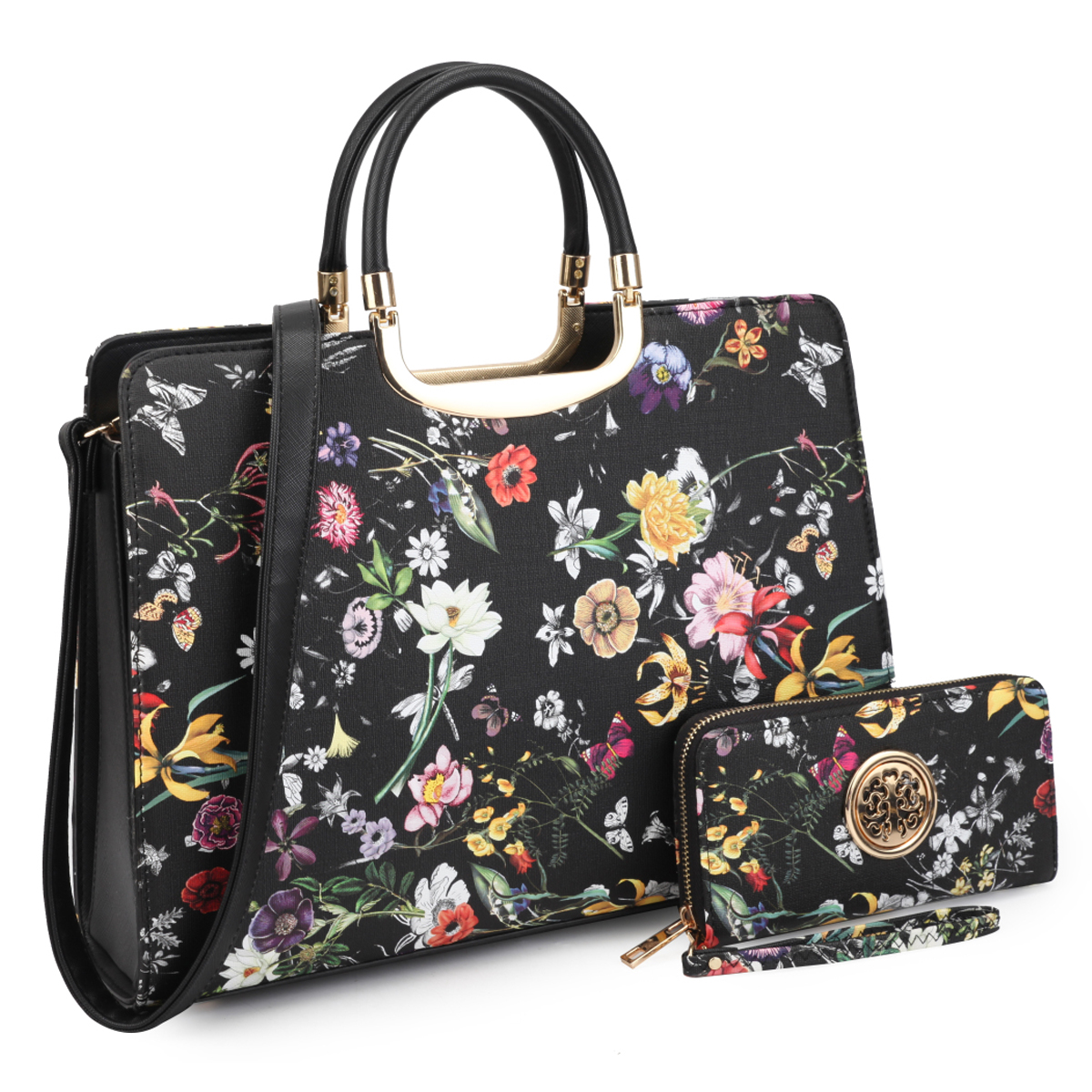Patent Flower Print Briefcase with Matching Wallet