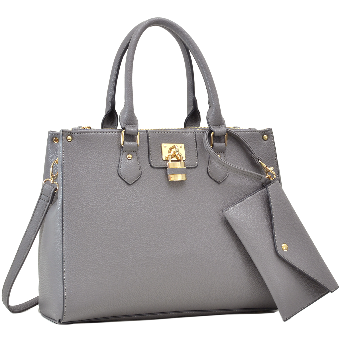 Dasein Leather Satchel with Padlock Deco and Matching Wristlet