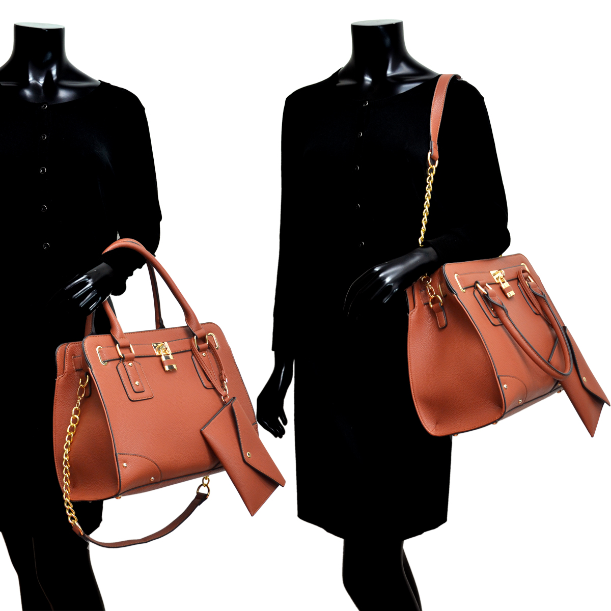 Dasein Leather Belted Satchel with Padlock Deco and Chain Shoulder Strap and with Matching Wristlet