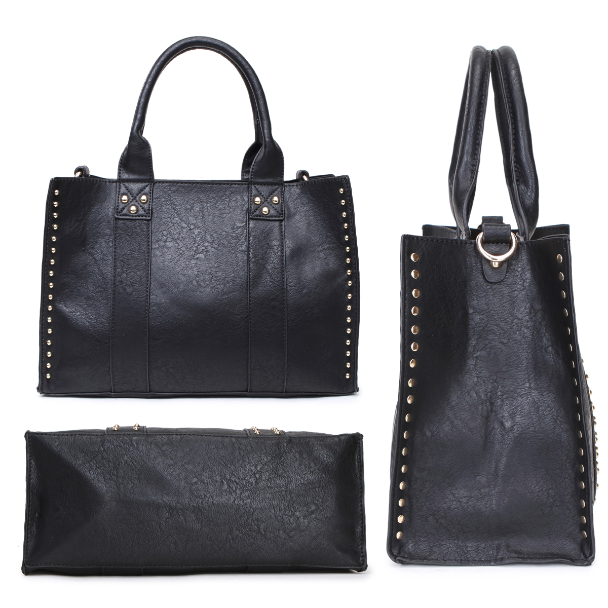 Dasein Studded Tote with Detachable Organizer Bag/pouch and Matching Wristlet