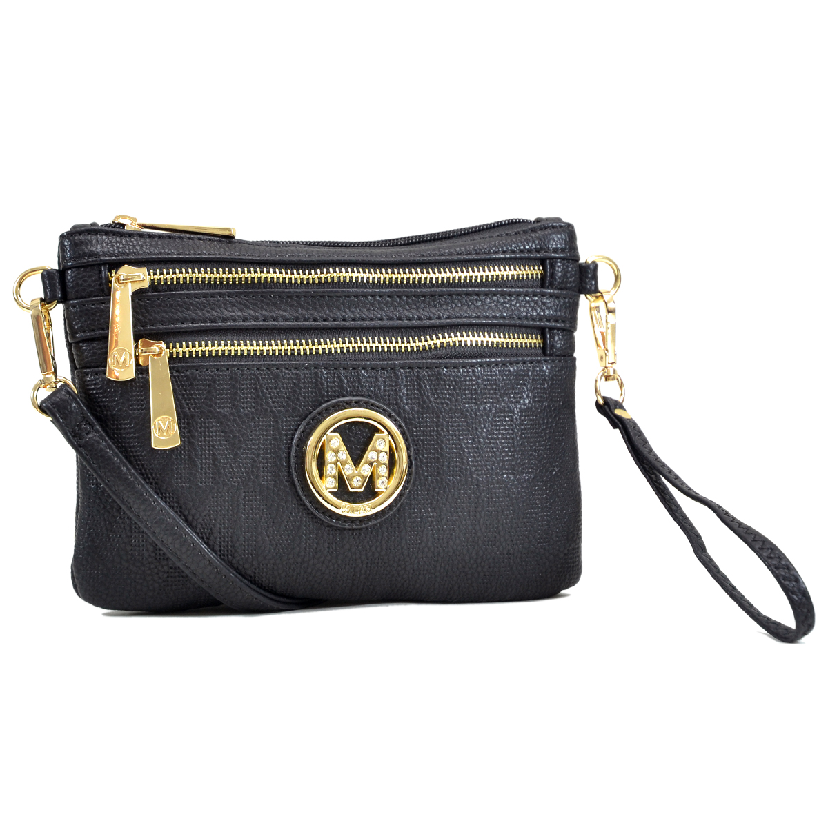 Monogram Logo Soft Faux Leather  Messenger/Crossbody/ Clutch Bag