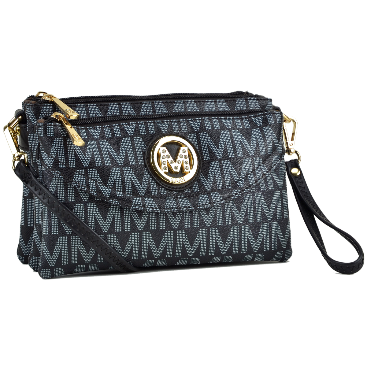 Monogram Logo Soft Faux Leather-Multi compartment- Messenger/Crossbody/ Clutch Bag