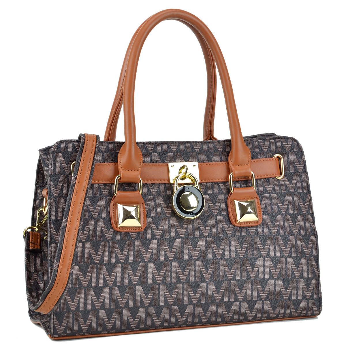 Monogram Logo Medium Satchel with Belted Padlock Deco