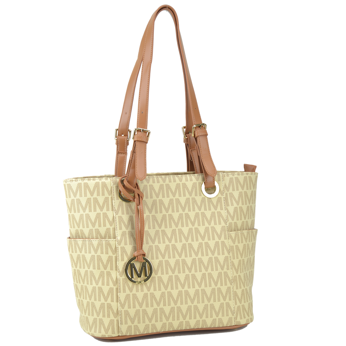Monogram Logo Faux Leather Belted Tote with Open Side Pockets