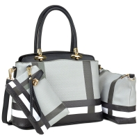 Plaid Design-3-in-1 Faux Leather Satchel with Organizer bag and wristlet