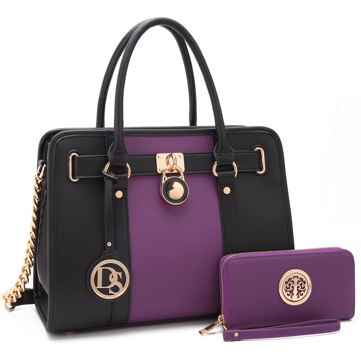 Dasein Large Two Tone Faux Leather Satchel with Gold Chain Strap and with Matching Wallet