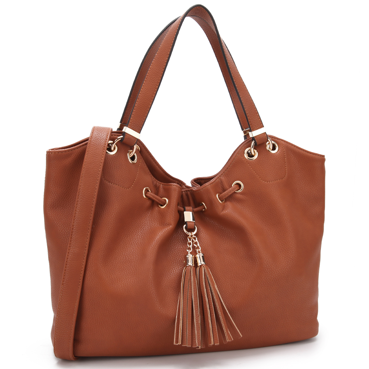 Dasein Faux Leather Satchel Drawstring Design with Fringe Tassel