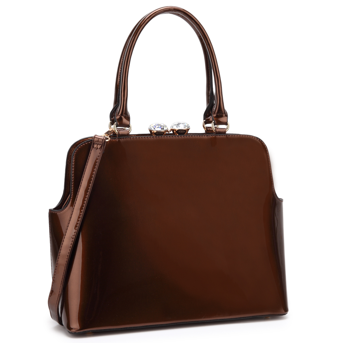 Dasein Patent Leather Satchel with Top Kiss Lock Snap Closure