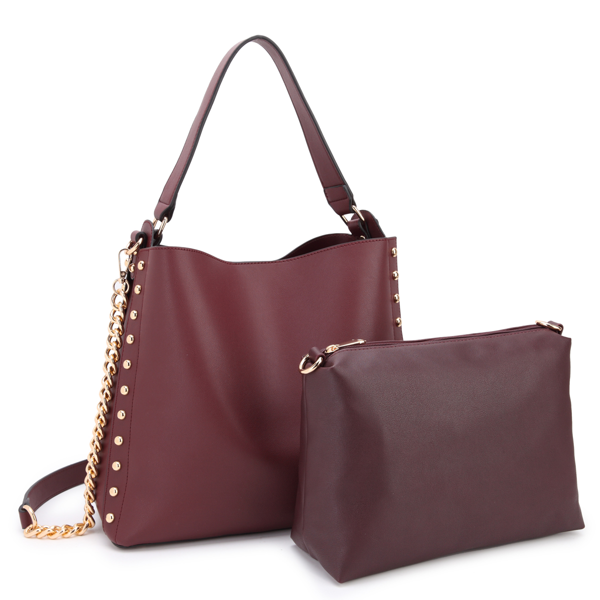 Dasein Classic Faux Leather 2-in-1 Hobo Bag with Studs design on both sides and with Matching Accessory Bag inside
