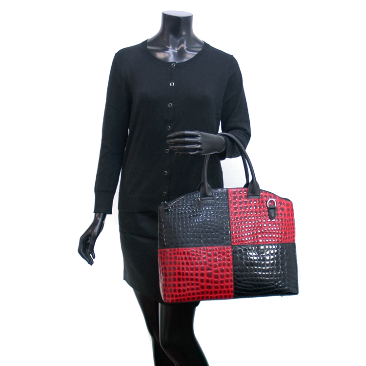 Dasein Large Block Color Chic Patent Croco Tote Bag w/ Bonus Strap