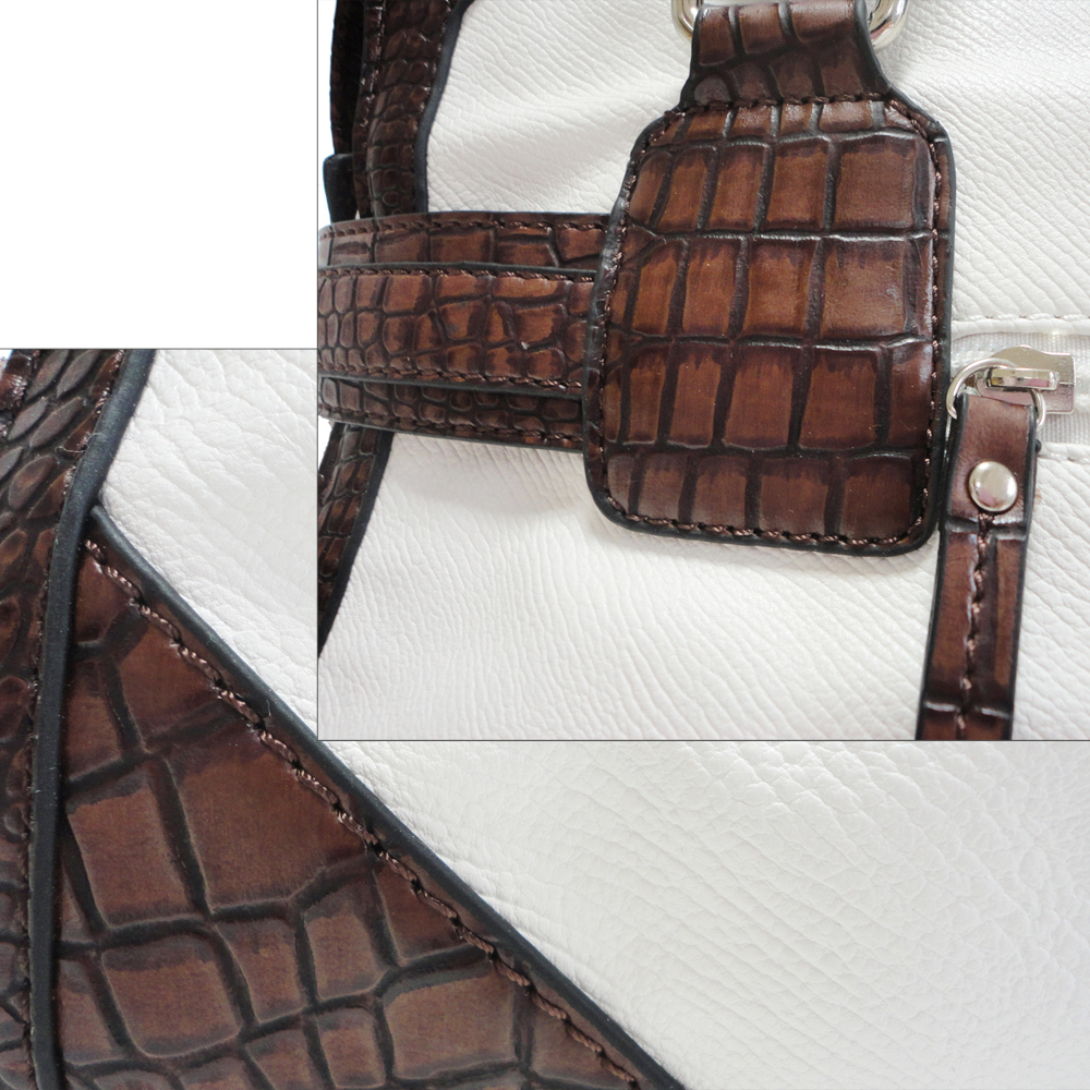 Dasein Belted Croco Leather Tote Handbag Purse
