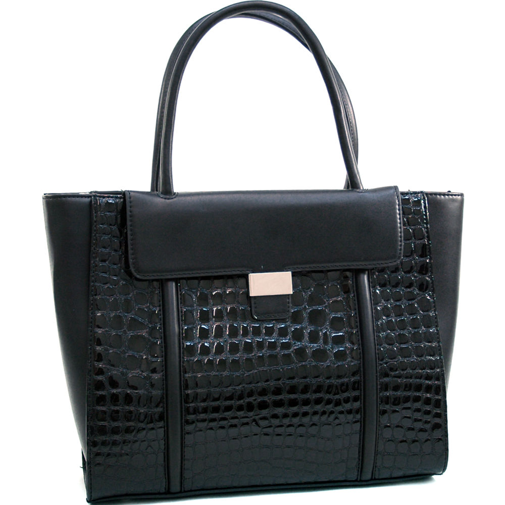 Dasein Women's Large Patent Croco Chic Fashion Tote w/ Buckle Decor