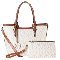 Monogram Imprint Faux Leather Medium Tote/Satchel with Matching wristlet