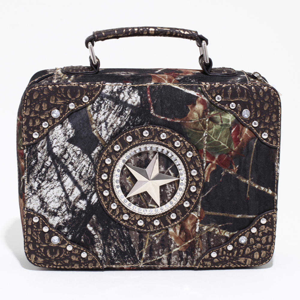 Mossy Oak® Studded Camouflage Travel/Business Bag w/ Star & Croco Trim