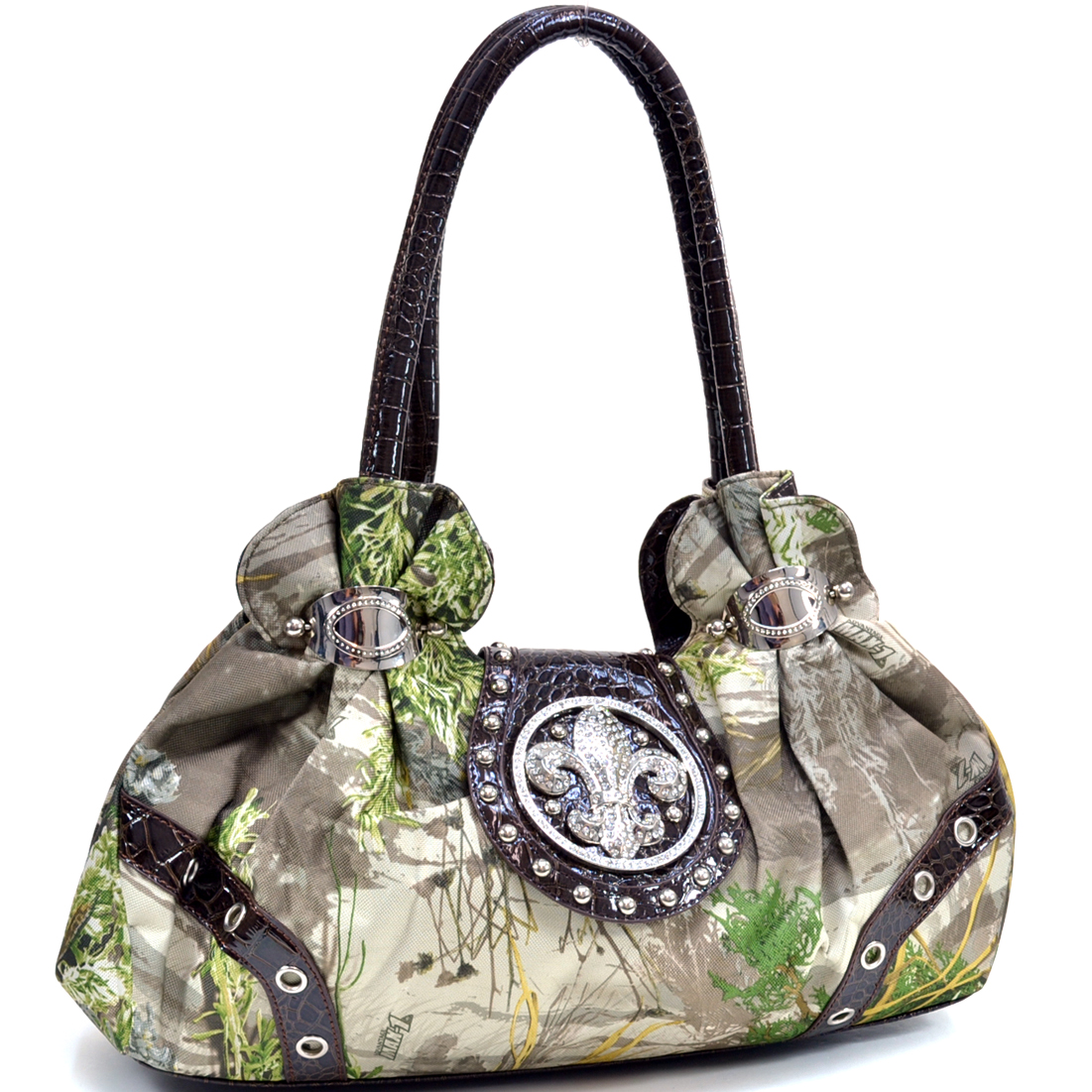 Dasein® Studded Satchel Bag in Realtree ® Camouflage with Rhinestone Fleur De Lis ornament