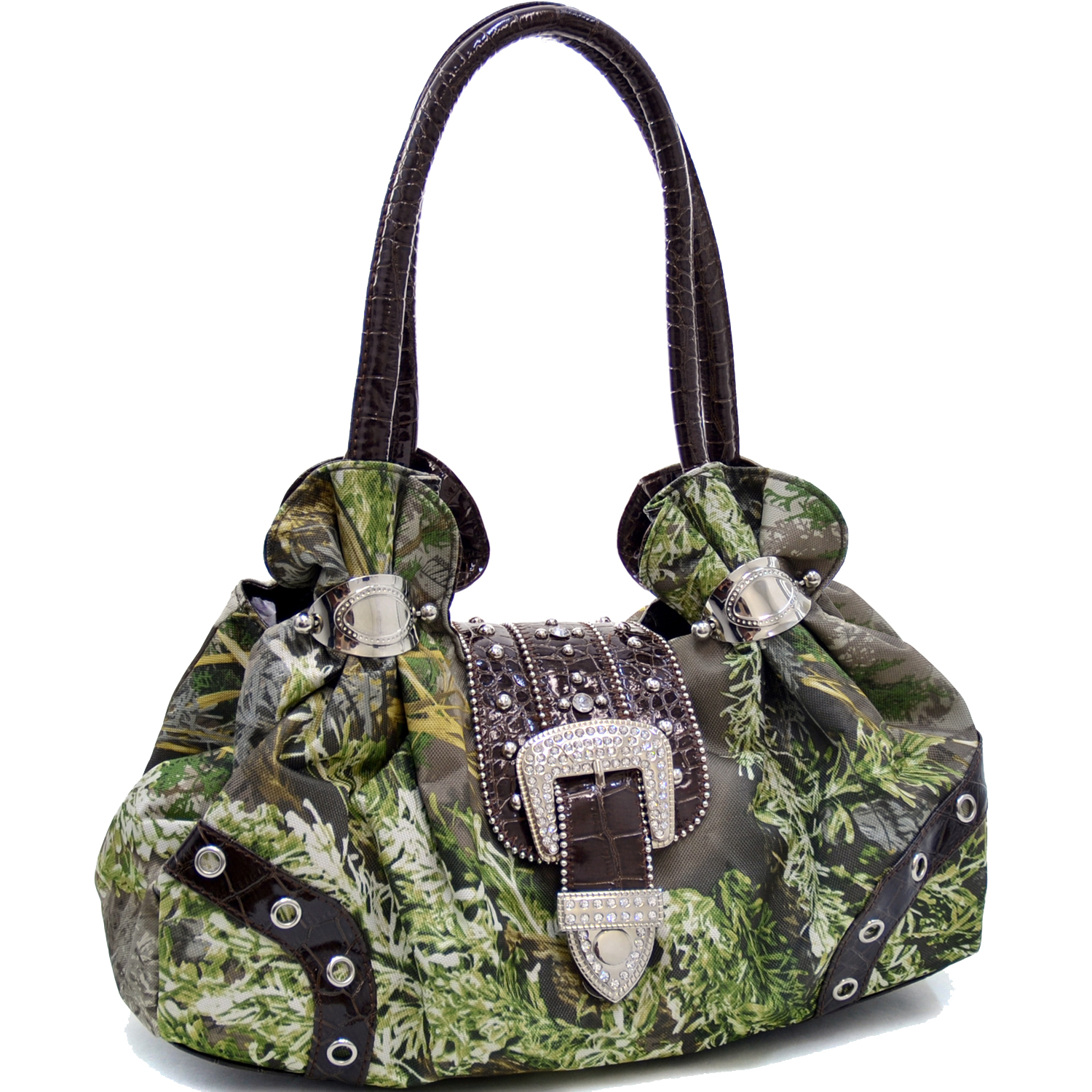 Dasein® Sholder Bag with Rhinestone Buckle Accent in Real Tree® Camouflage