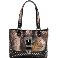 Dasein® Studded Tote in Realtree ® Camouflage w/ Croco Trim and Buckle