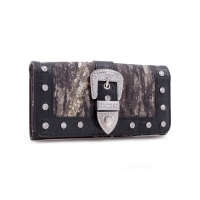 Mossy Oak® Camouflage Wallet With Rhinestone Buckle & Floral Trim