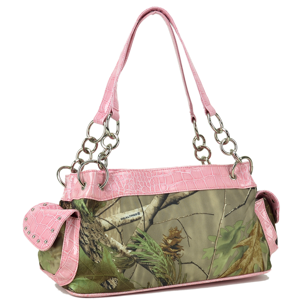Studded Sholder Bag with Chain/Croc Straps in Real Tree® Camouflage