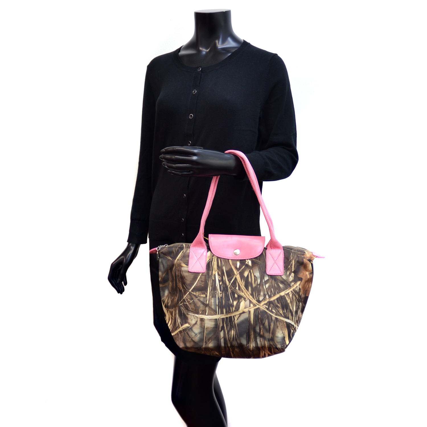Realtree ® Faux Leather Trim Amouflage Shoulder Bag w/ Flapover Top Snap Closure
