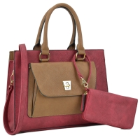 b5464fe4d86 Dasein Faux Leather Satchel with Exterior Front Twist Lock Pocket and  Matching Wallet