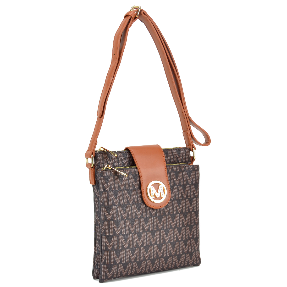 Monogram Logo Messenger/Crossbody Bag with Magnetic Flap