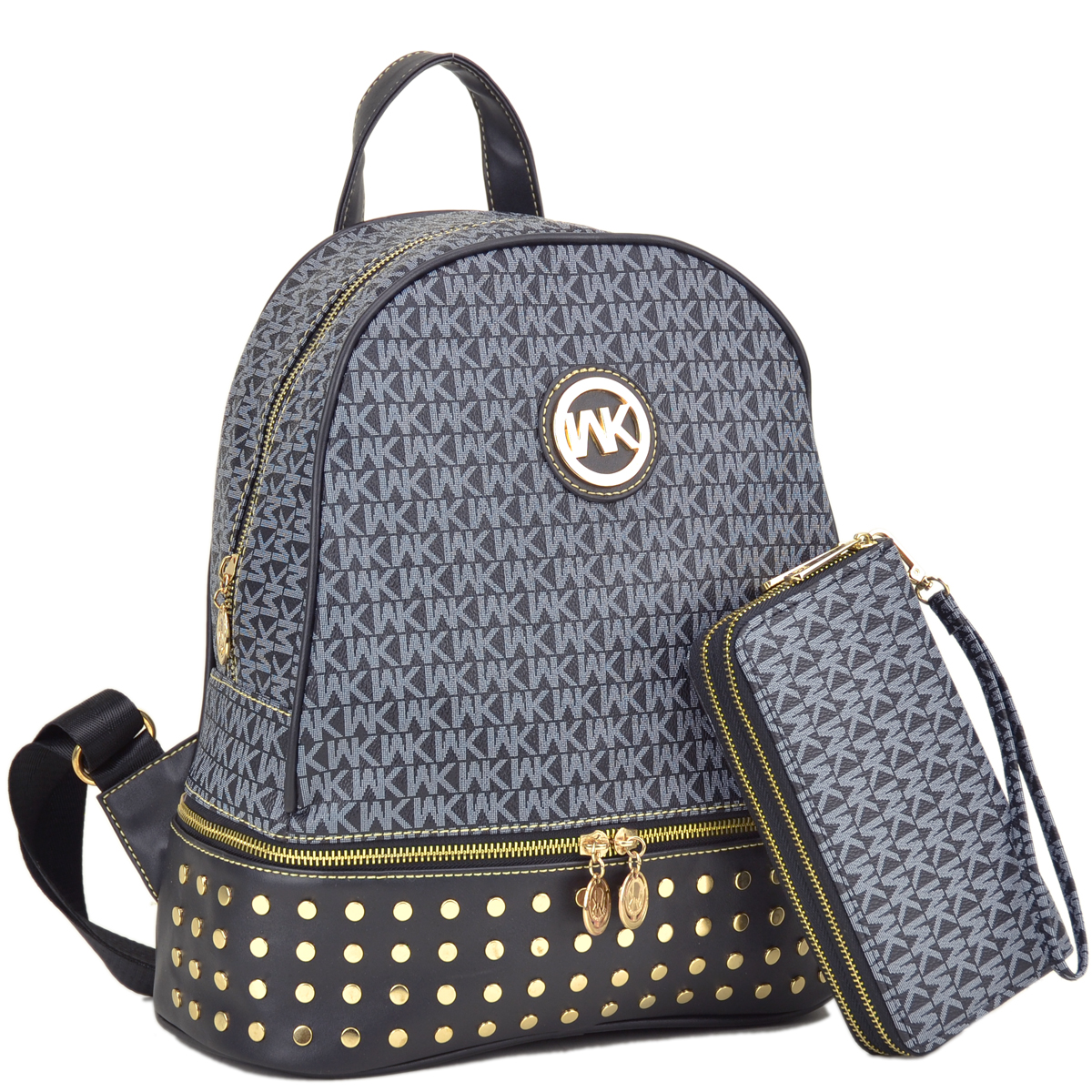 Wendy Keen Monogram Medium Faux Leather Studded Backpack with Matching wallet