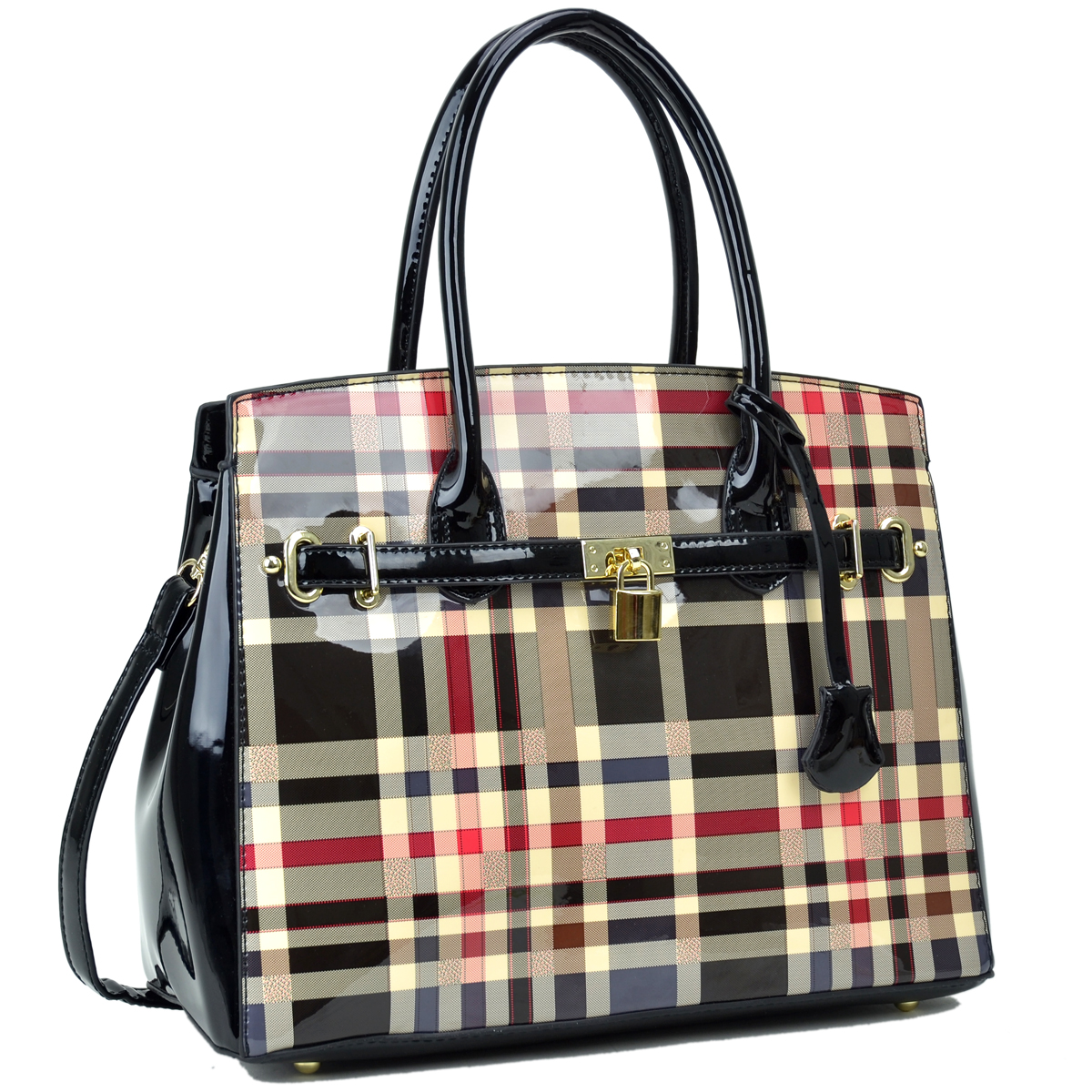 Plaid Design Patent Leather Medium Satchel with padlock deco