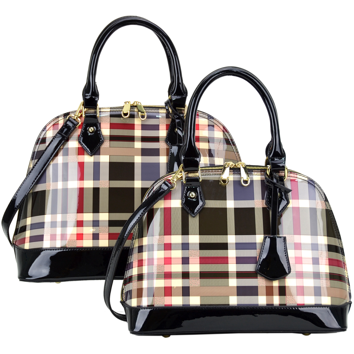 Plaid Design Patent Leather Medium plus Mini (Bag in a Bag) Dome Shaped Satchel