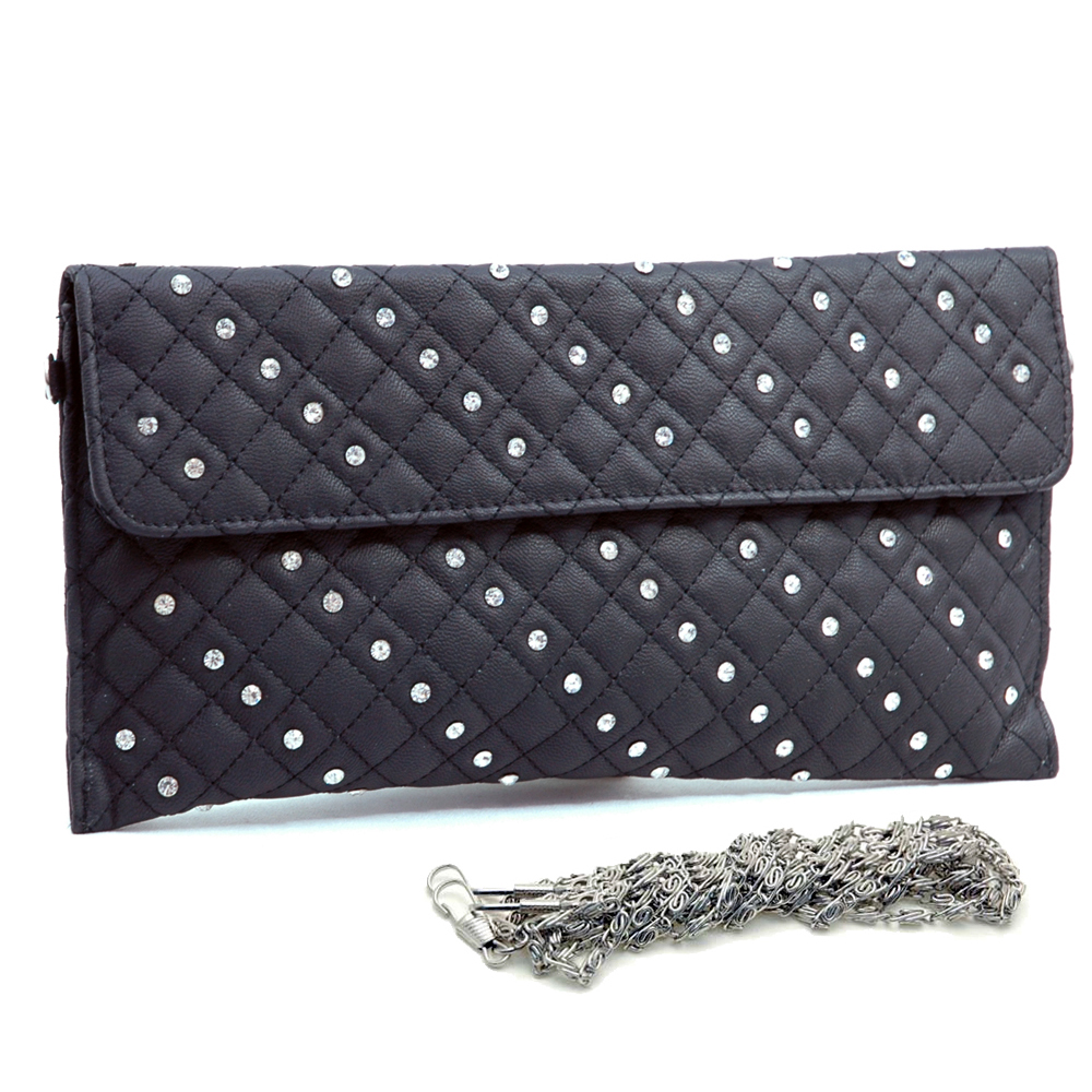Dasein Clutch with Rhinestone Studded Top Flap