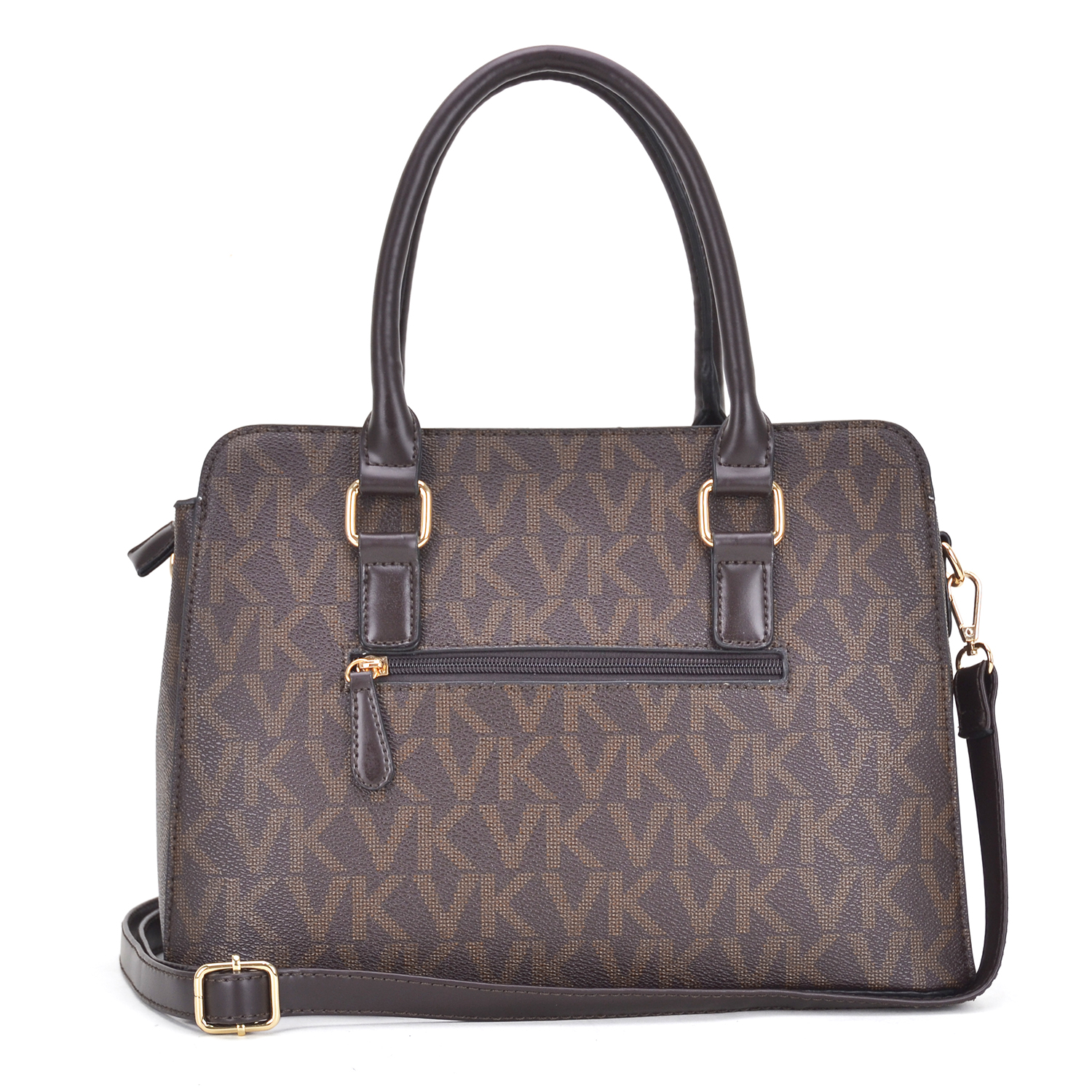 Monogram imprint satchel with padlock deco and Matching wallet