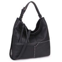 Dasein Soft Faux Leather Hobo Bag with patch and studs design and strand deco