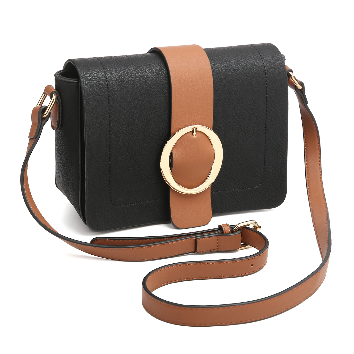 Front Flap Snap Closure Messenger Bag with Decorative Round Buckle Design