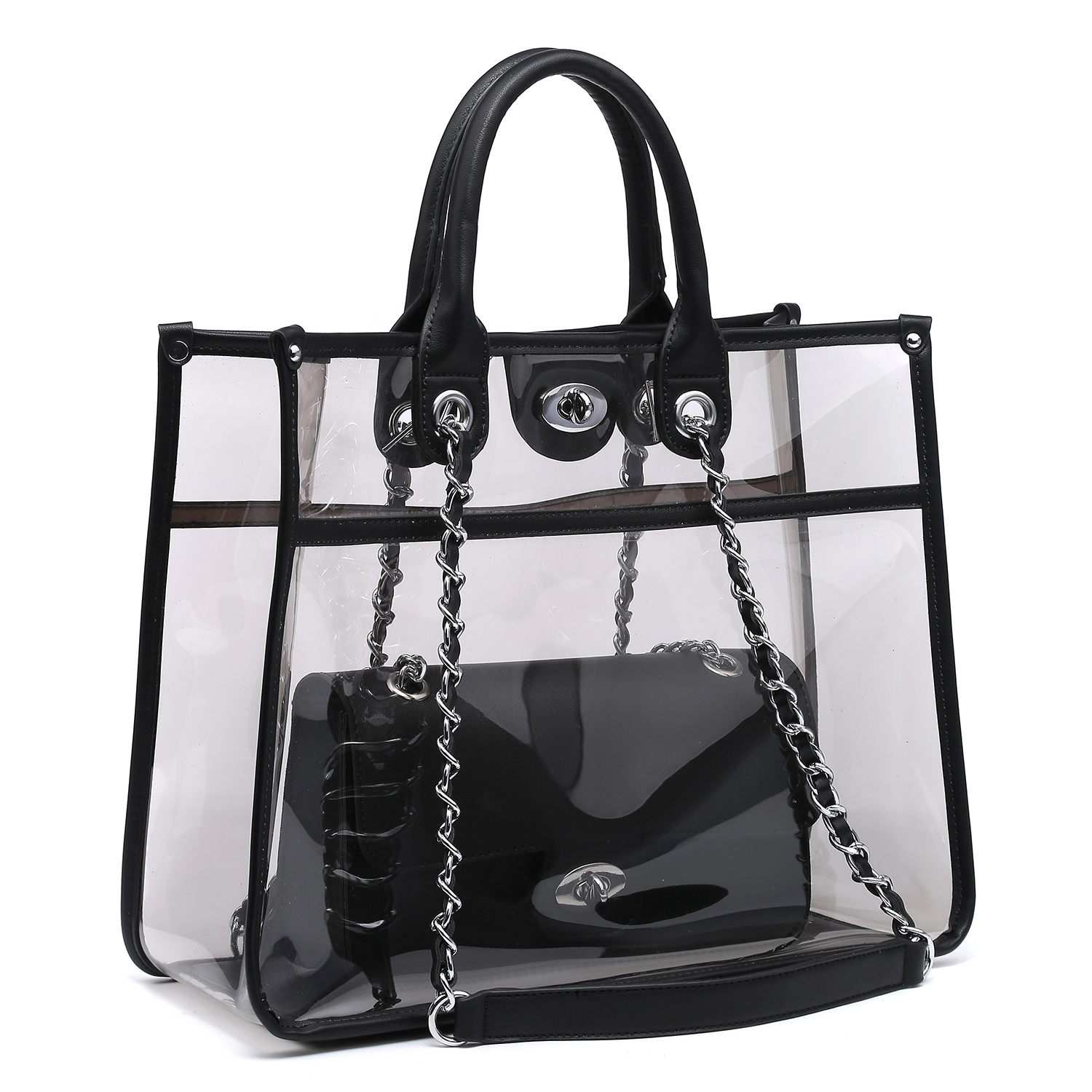 Dasein 2-in-1 Classic Clear Transparent Tote