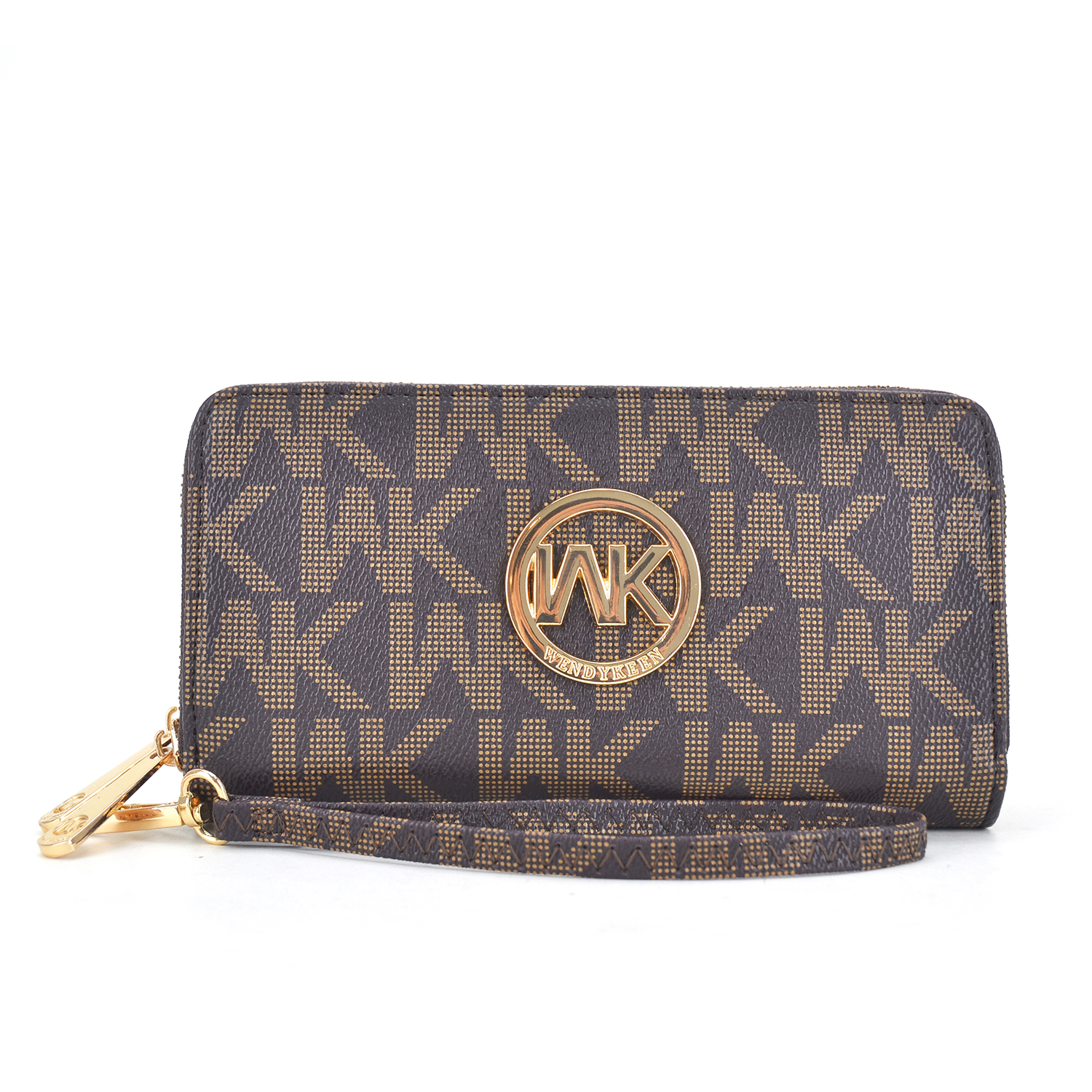 Wendy Keen Monogram Logo Two layer Zipped Around Wallet