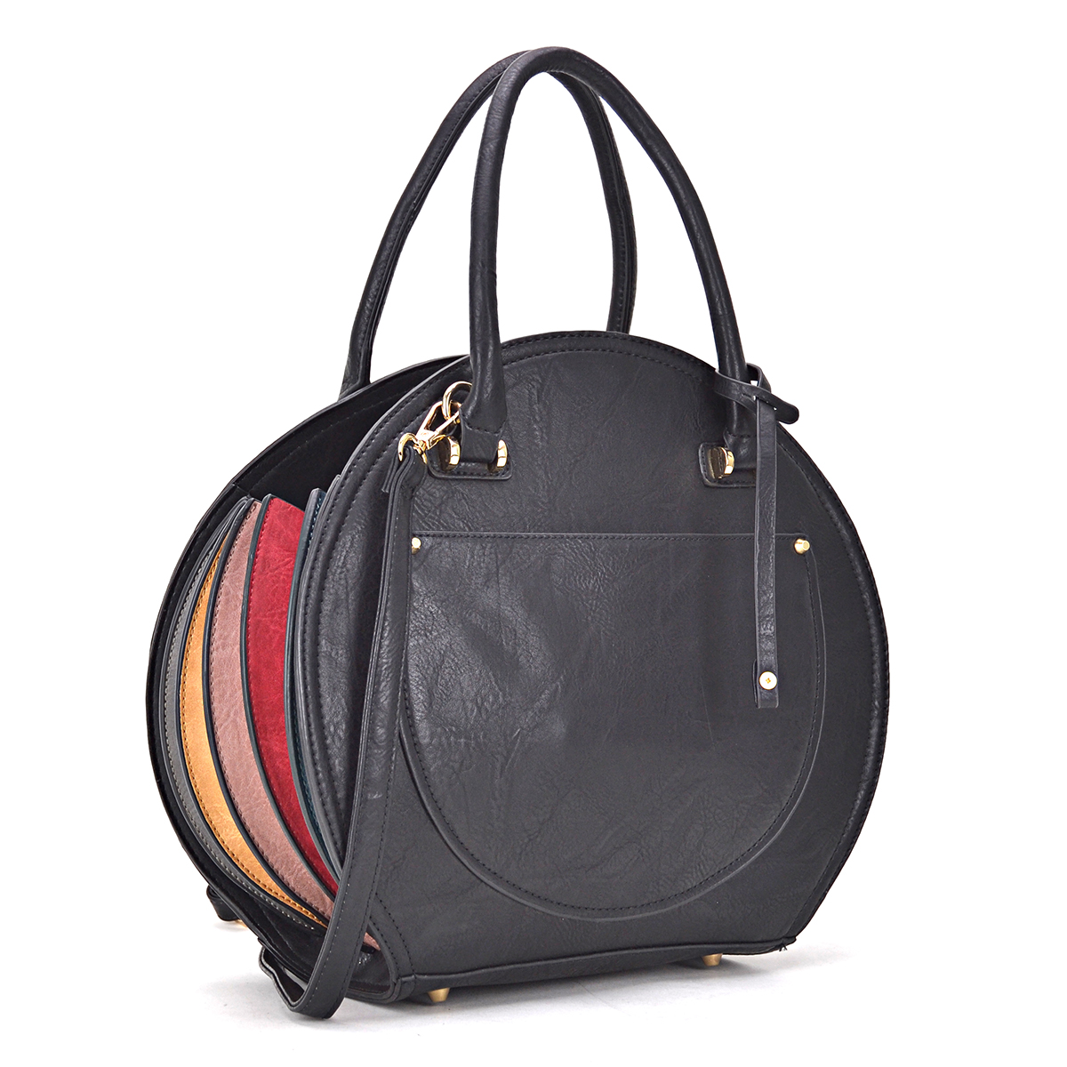 Leather Oval shaped Satchel with Fanfold multi color edge design on both sides