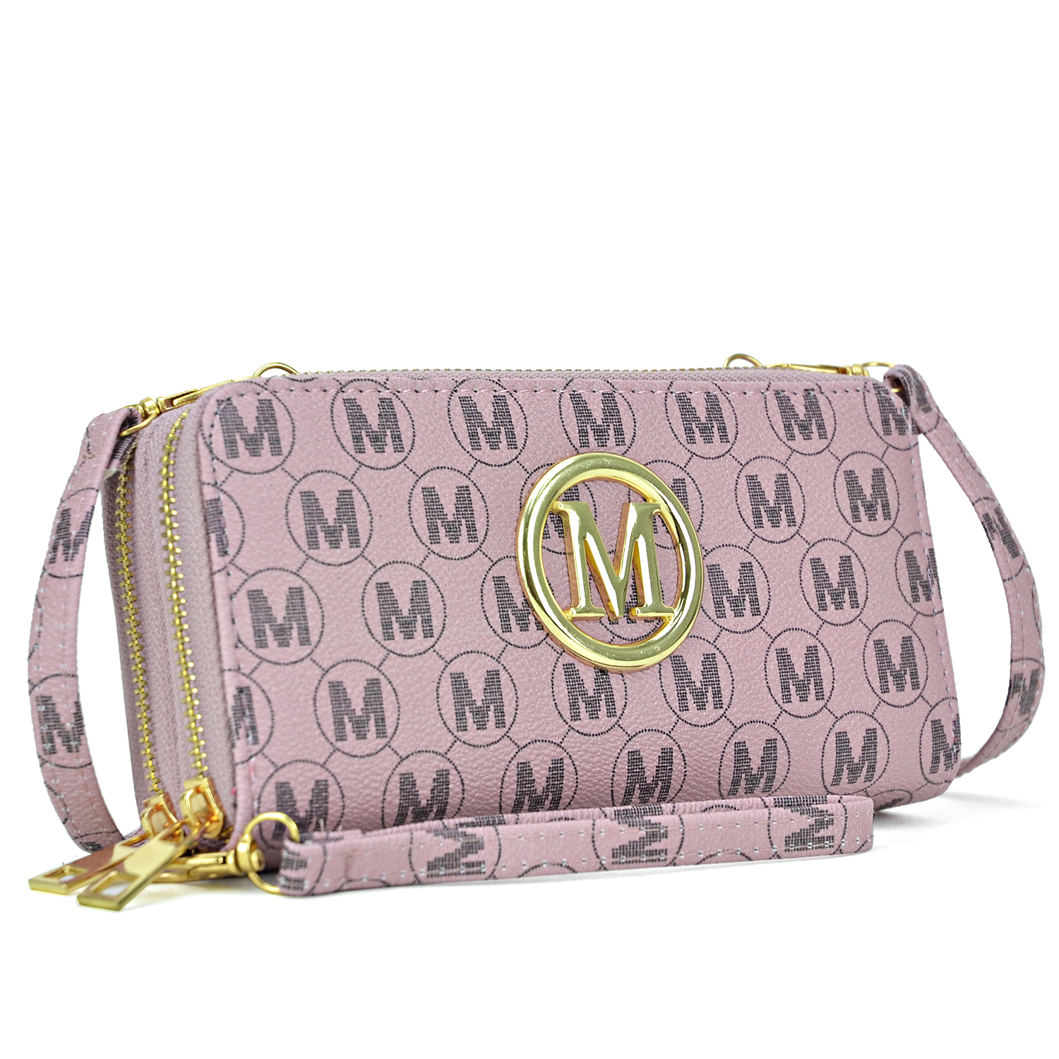 Monogram Imprint with Logo Emblem Double layer Zip Around Wallet with Shoulder and Wristlet Strap