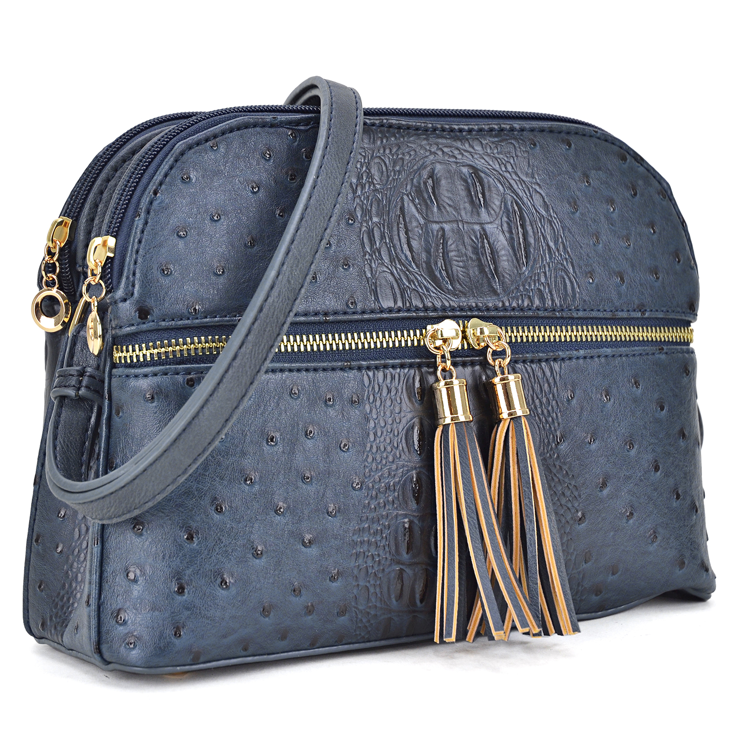 All-In-One ostrich accented/embossed Crossbody/ Messenger Bag with Front Zipped Compartment and with Decorative Tassel