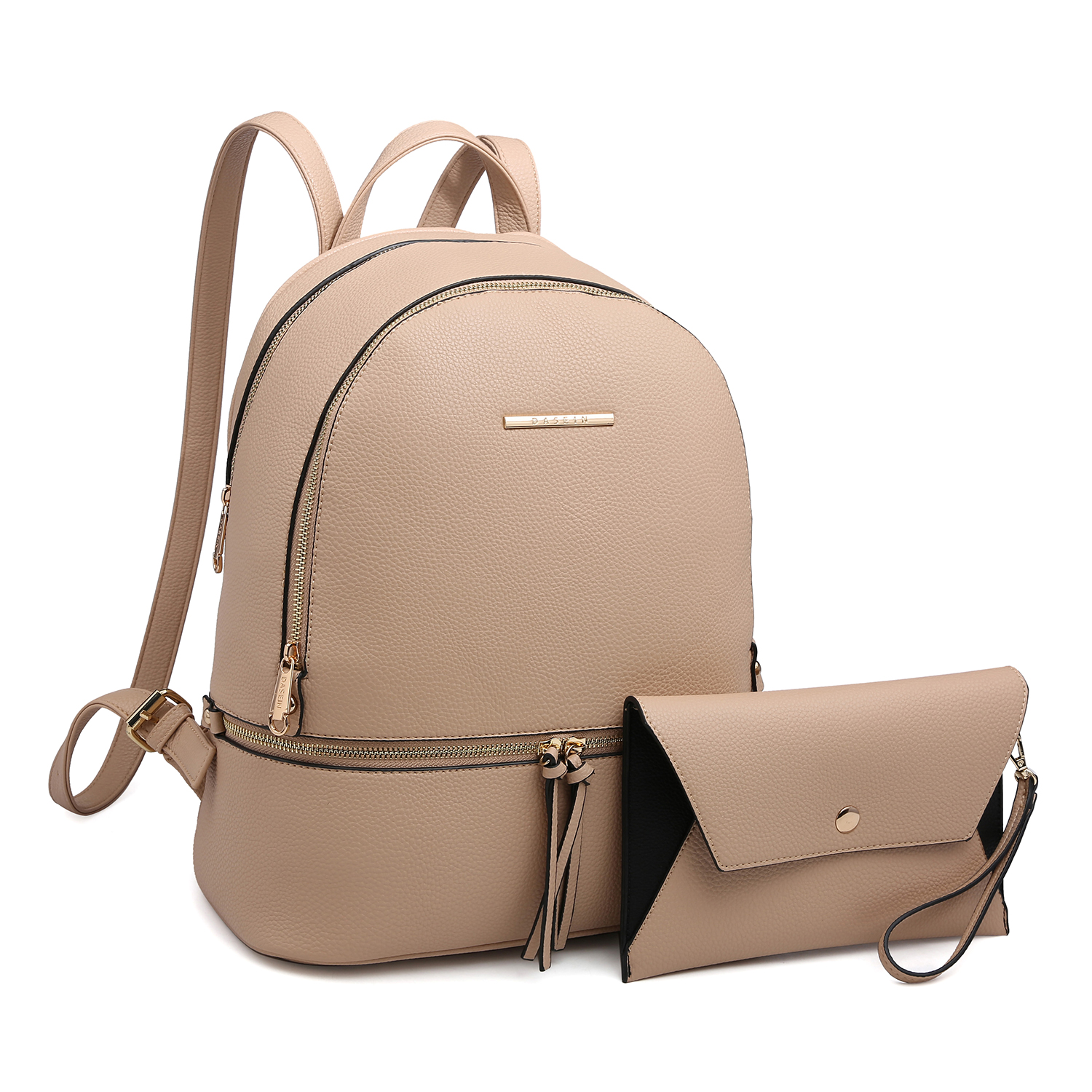 Dasein Faux Leather Backpack with Matching wristlet